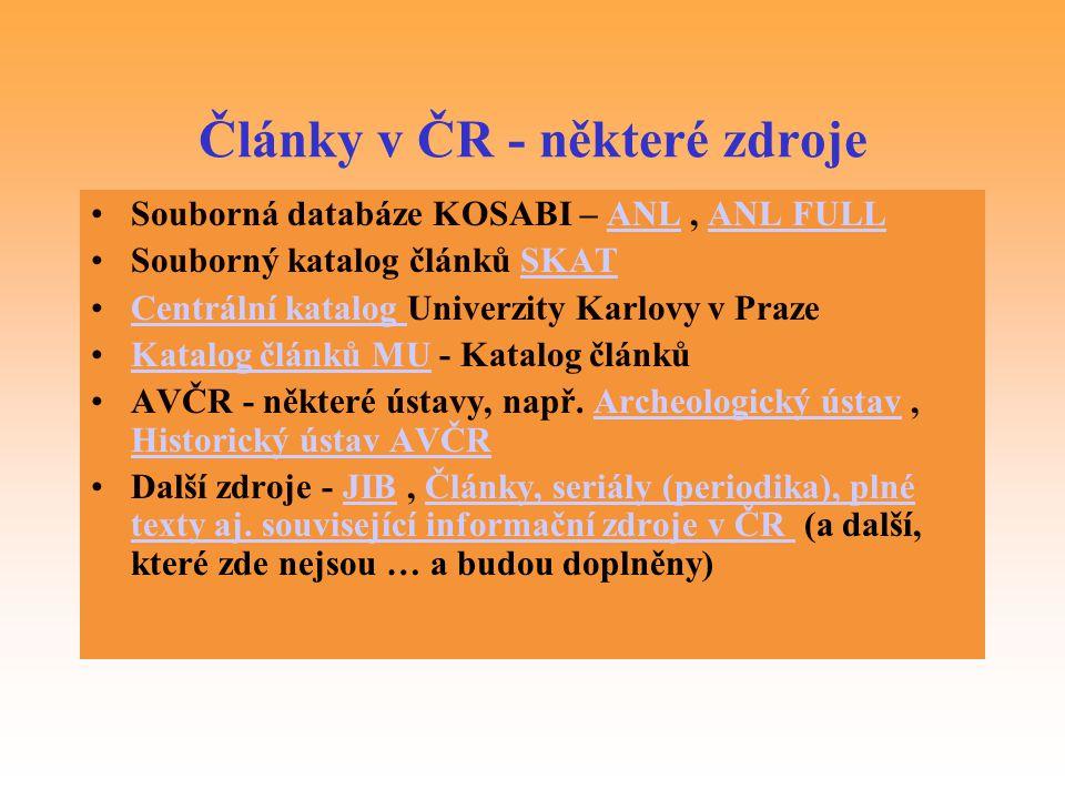 Články v ČR - některé zdroje