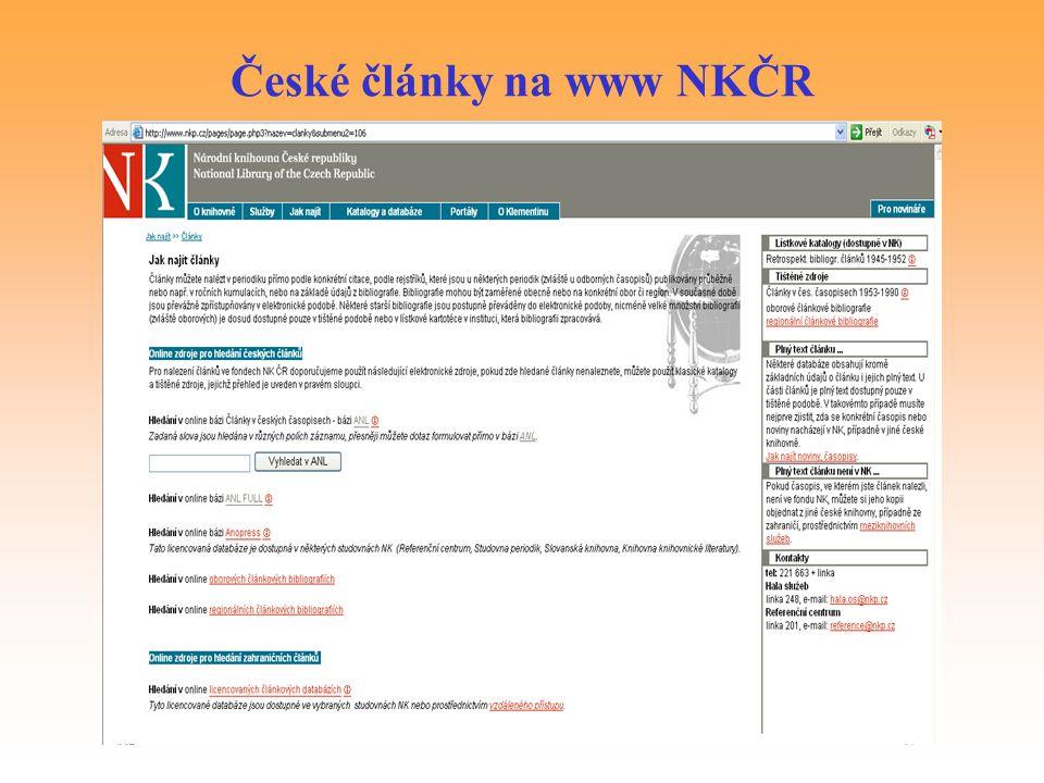 České články na www NKČR