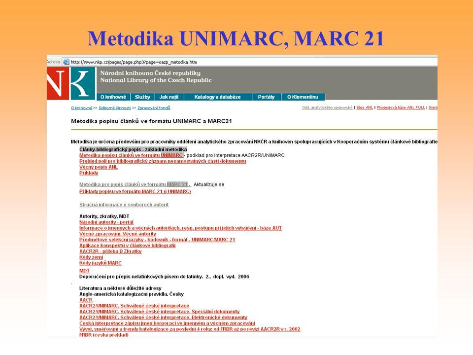 Metodika UNIMARC, MARC 21