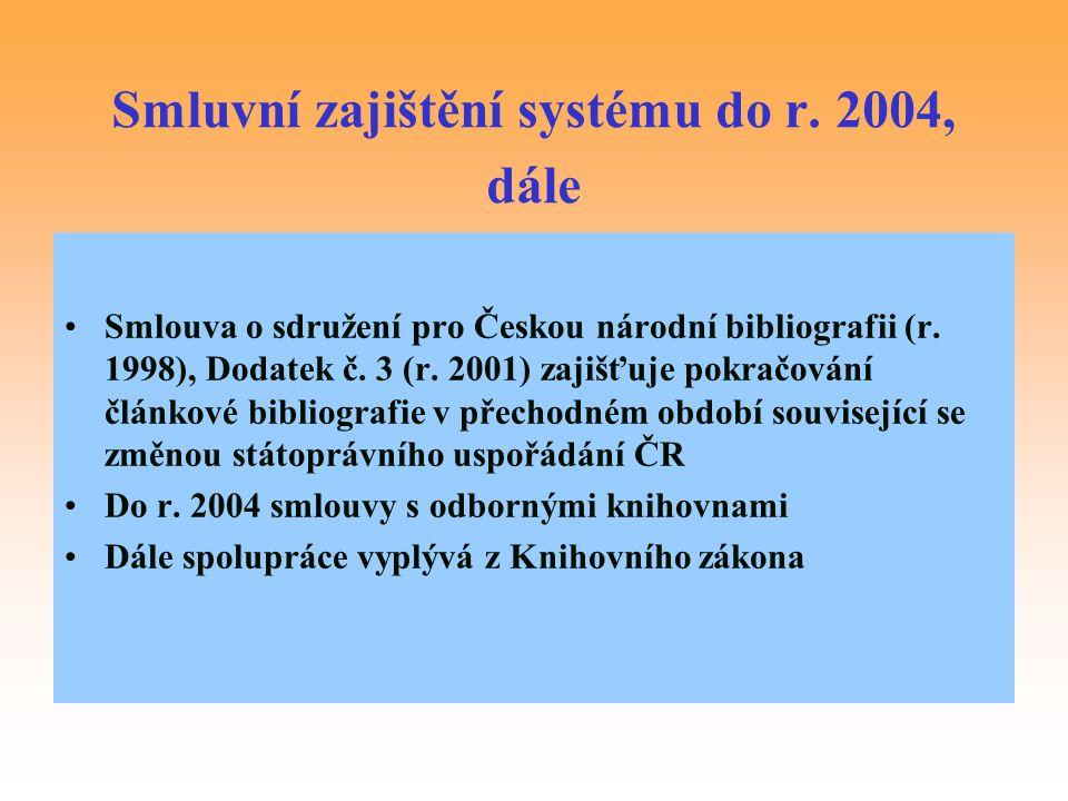 Smluvní zajištění systému do r. 2004, dále