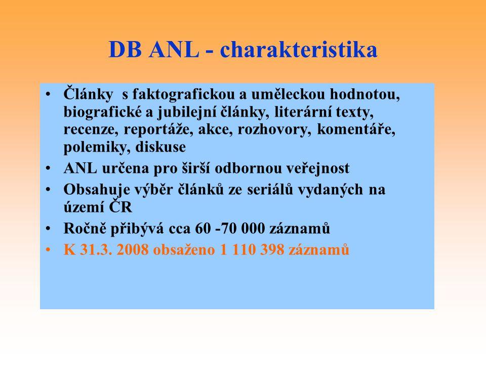 DB ANL - charakteristika