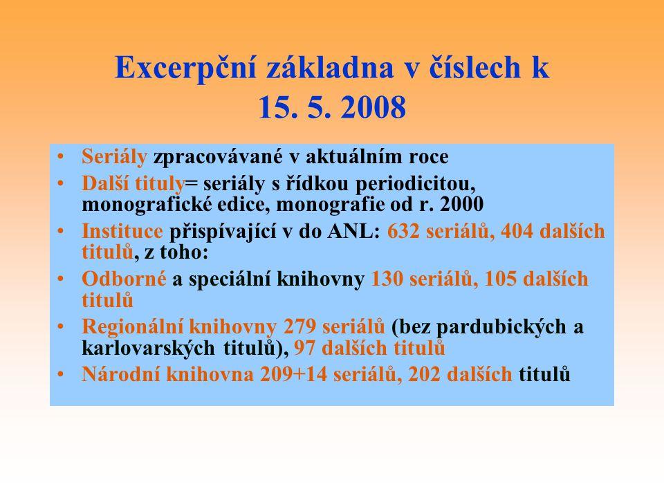 Excerpční základna v číslech k 15. 5. 2008