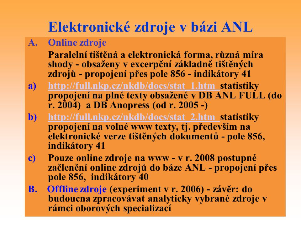 Elektronické zdroje v bázi ANL