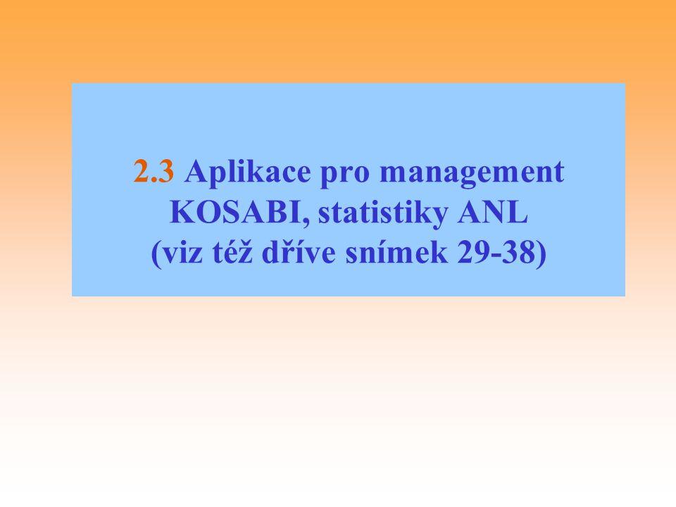 2.3 Aplikace pro management KOSABI, statistiky ANL (viz též dříve snímek 29-38)