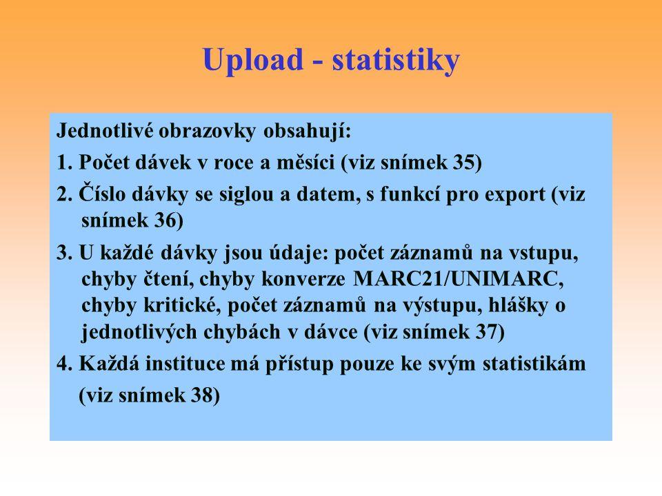 Upload - statistiky