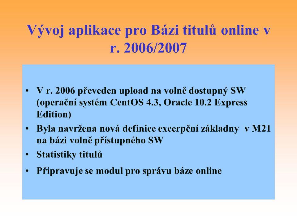 Vývoj aplikace pro Bázi titulů online v r. 2006/2007