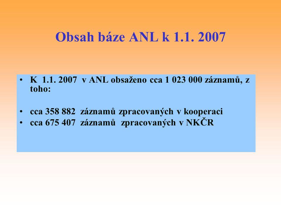 Obsah báze ANL k 1.1. 2007 K 1.1. 2007 v ANL obsaženo cca 1 023 000 záznamů, z toho: cca 358 882 záznamů zpracovaných v kooperaci.