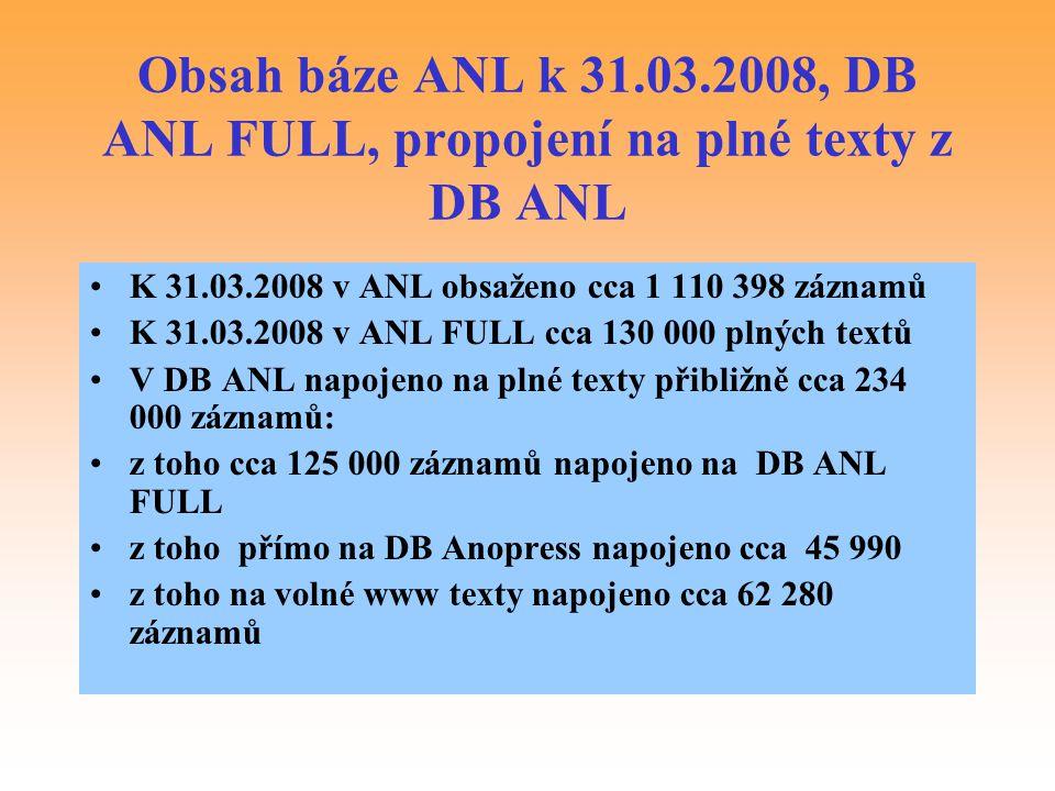 Obsah báze ANL k 31.03.2008, DB ANL FULL, propojení na plné texty z DB ANL