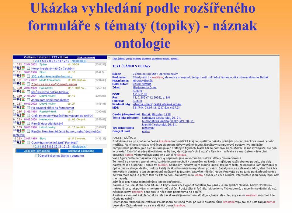Ukázka vyhledání podle rozšířeného formuláře s tématy (topiky) - náznak ontologie