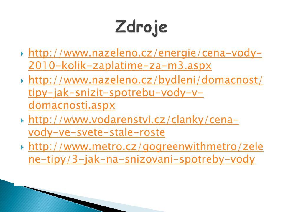Zdroje http://www.nazeleno.cz/energie/cena-vody- 2010-kolik-zaplatime-za-m3.aspx.