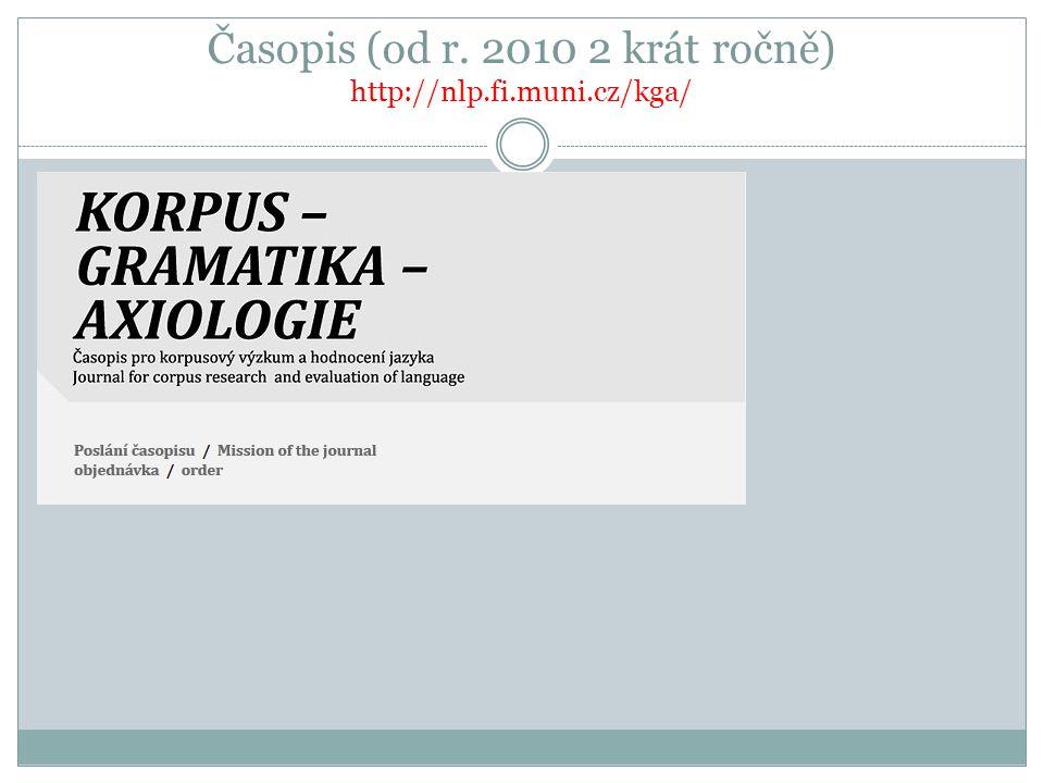 Časopis (od r. 2010 2 krát ročně) http://nlp.fi.muni.cz/kga/