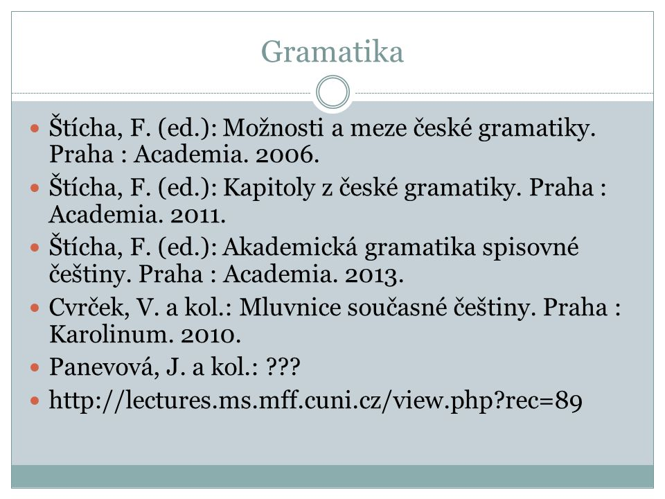 Gramatika Štícha, F. (ed.): Možnosti a meze české gramatiky. Praha : Academia. 2006.