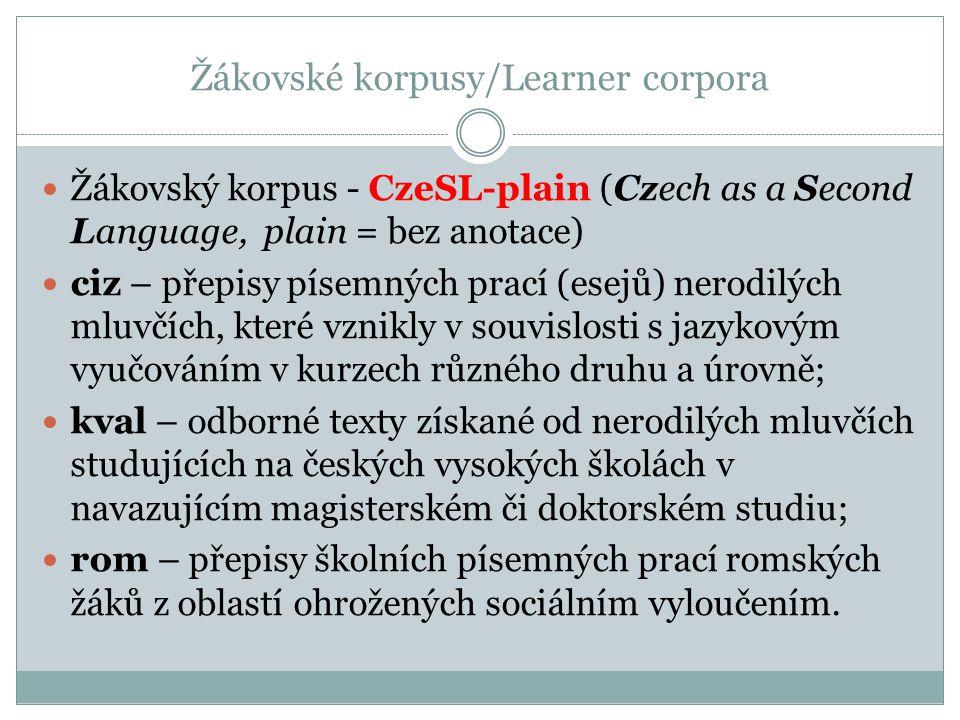 Žákovské korpusy/Learner corpora