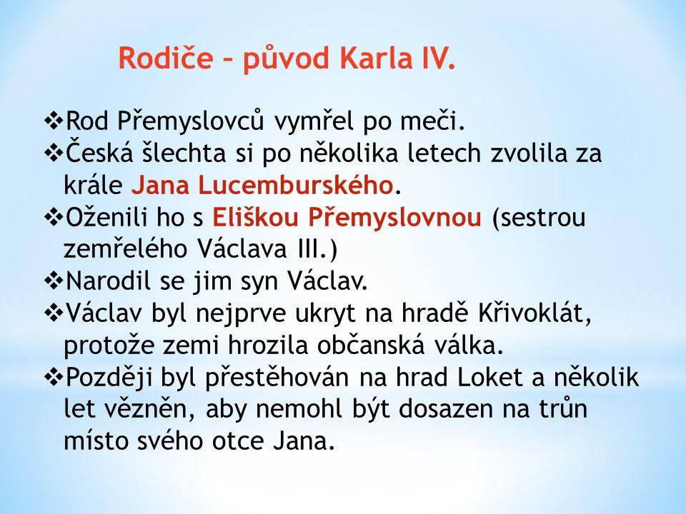 Rodiče – původ Karla IV. Rod Přemyslovců vymřel po meči.