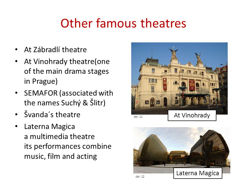 Other famous theatres At Zábradlí theatre