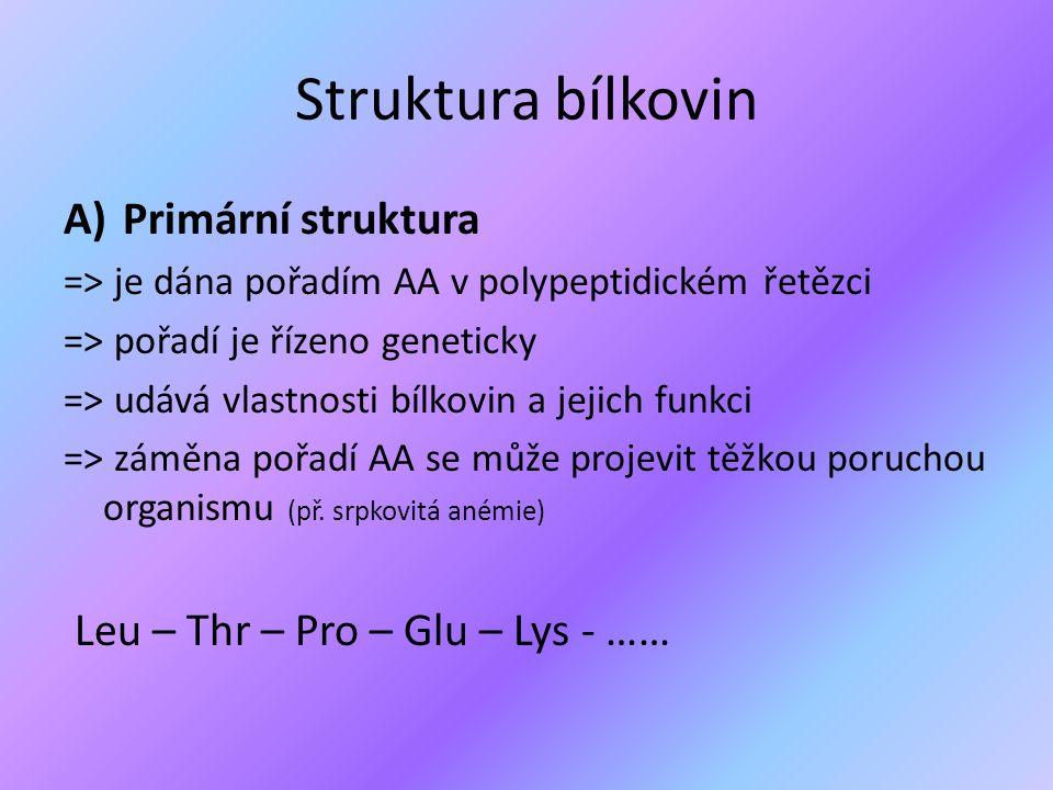 Struktura bílkovin Primární struktura Leu – Thr – Pro – Glu – Lys - ……