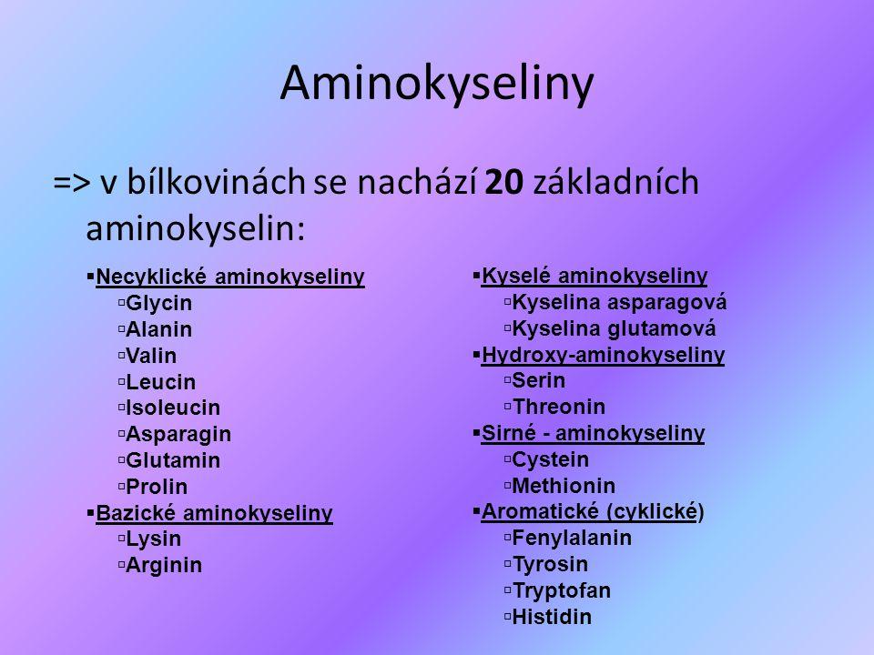 Aminokyseliny => v bílkovinách se nachází 20 základních aminokyselin: Kyselé aminokyseliny. Kyselina asparagová.
