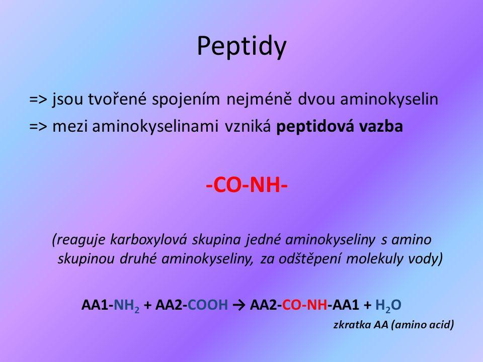 AA1-NH2 + AA2-COOH → AA2-CO-NH-AA1 + H2O