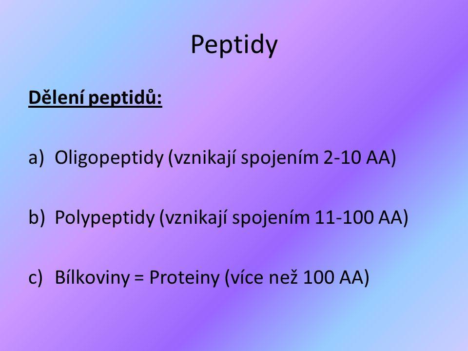 Peptidy Dělení peptidů: Oligopeptidy (vznikají spojením 2-10 AA)