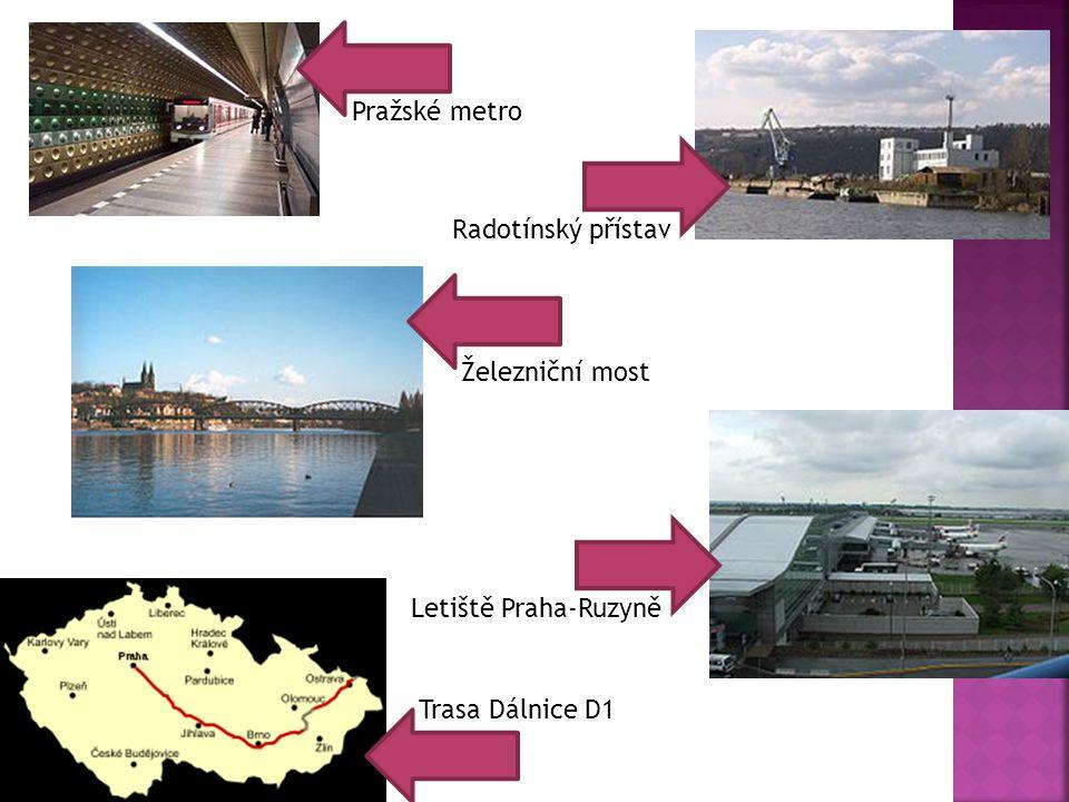 Pražské metro Radotínský přístav Železniční most Letiště Praha-Ruzyně Trasa Dálnice D1
