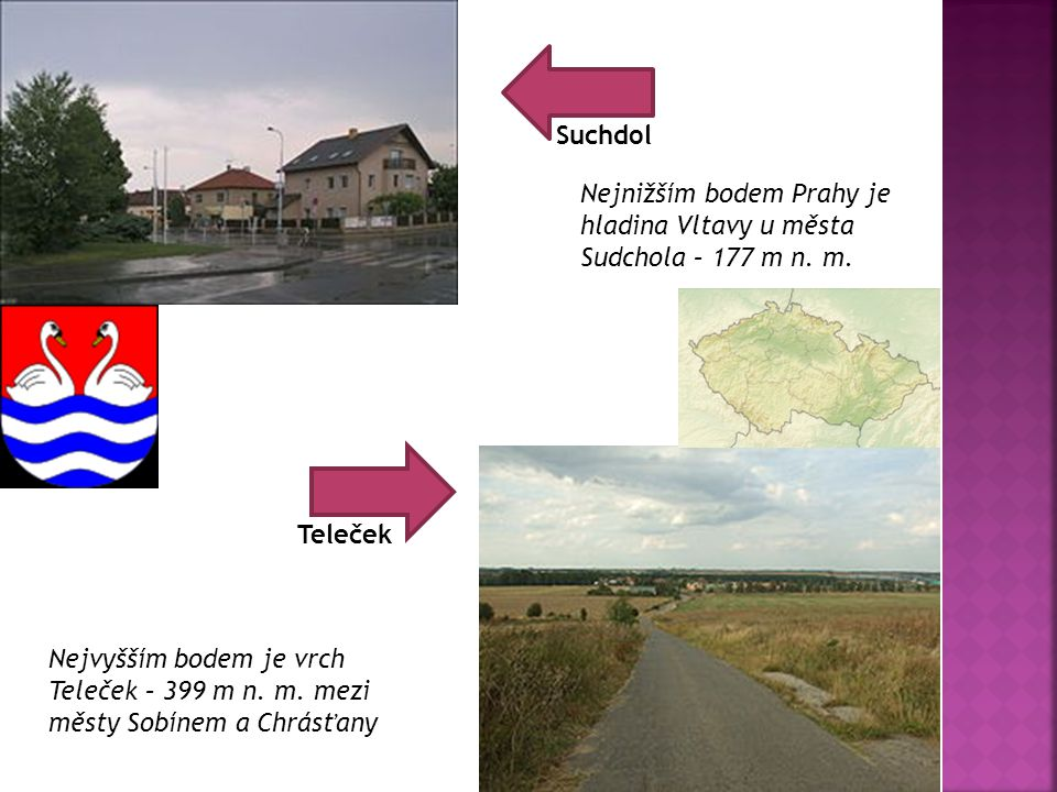 Suchdol Nejnižším bodem Prahy je hladina Vltavy u města Sudchola – 177 m n. m. Teleček.