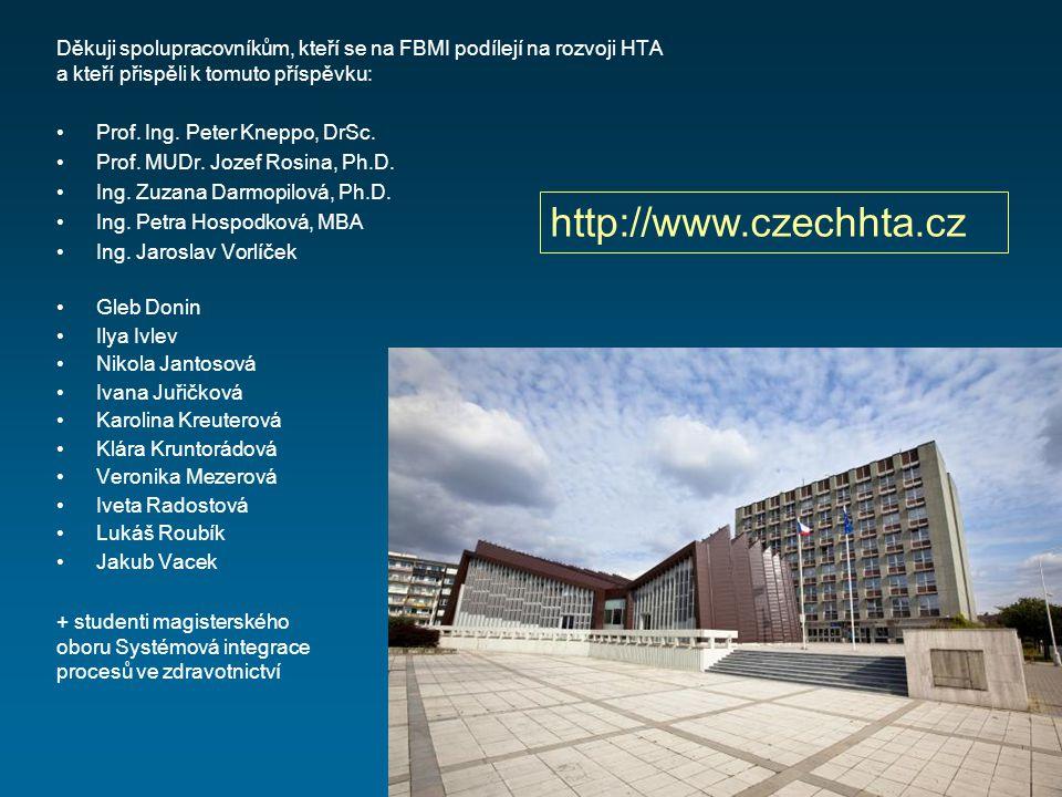Děkuji spolupracovníkům, kteří se na FBMI podílejí na rozvoji HTA a kteří přispěli k tomuto příspěvku: