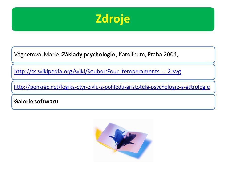 Zdroje Vágnerová, Marie :Základy psychologie , Karolinum, Praha 2004,