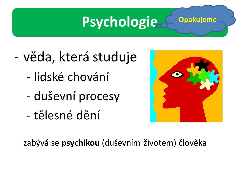 Psychologie věda, která studuje lidské chování duševní procesy