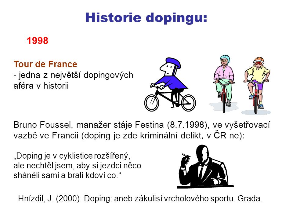 Historie dopingu: 1998 Tour de France jedna z největší dopingových
