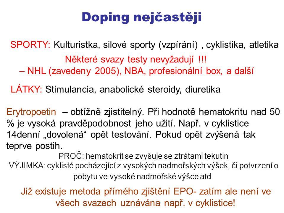 Doping nejčastěji SPORTY: Kulturistka, silové sporty (vzpírání) , cyklistika, atletika. Některé svazy testy nevyžadují !!!