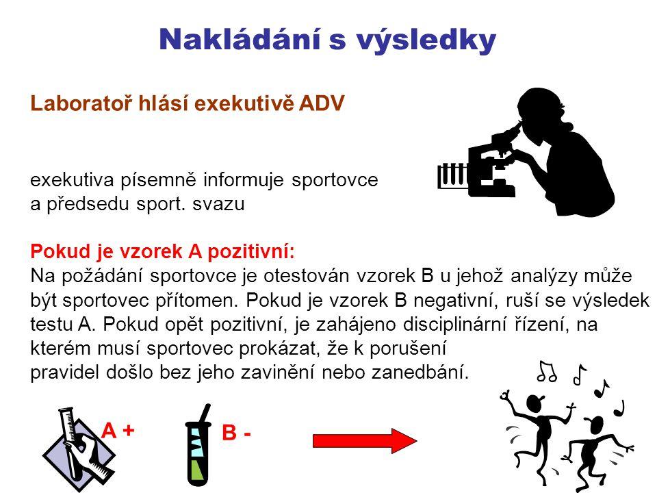 Nakládání s výsledky Laboratoř hlásí exekutivě ADV A + B -