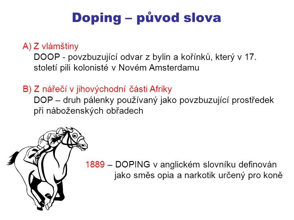 Doping – původ slova Z vlámštiny