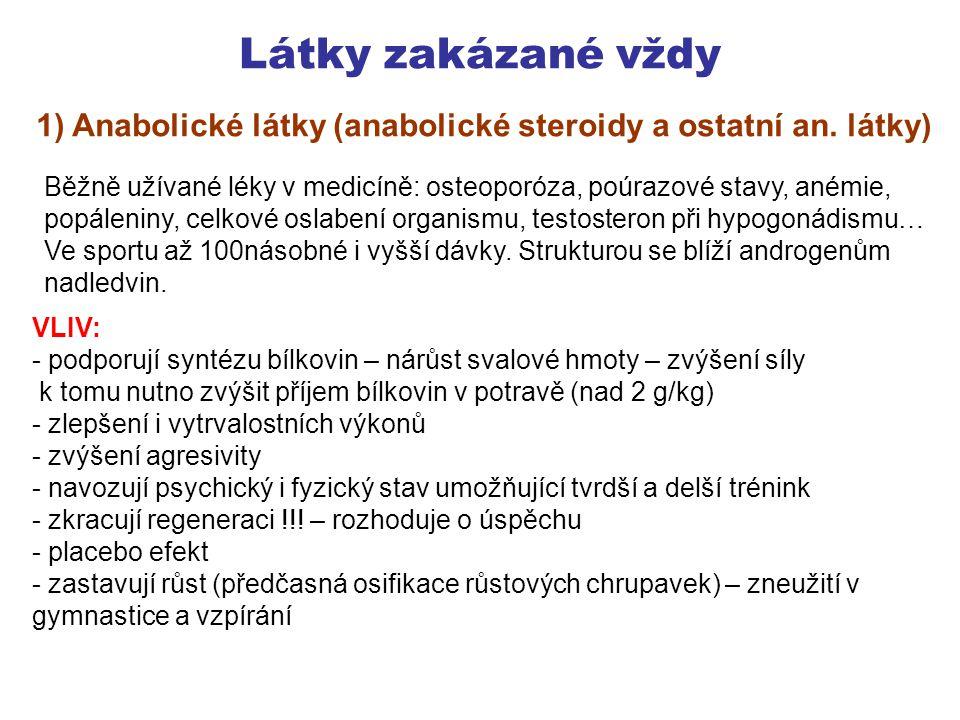 Látky zakázané vždy 1) Anabolické látky (anabolické steroidy a ostatní an. látky)