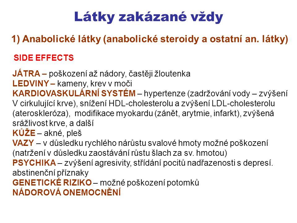 Látky zakázané vždy 1) Anabolické látky (anabolické steroidy a ostatní an. látky) SIDE EFFECTS. JÁTRA – poškození až nádory, častěji žloutenka.