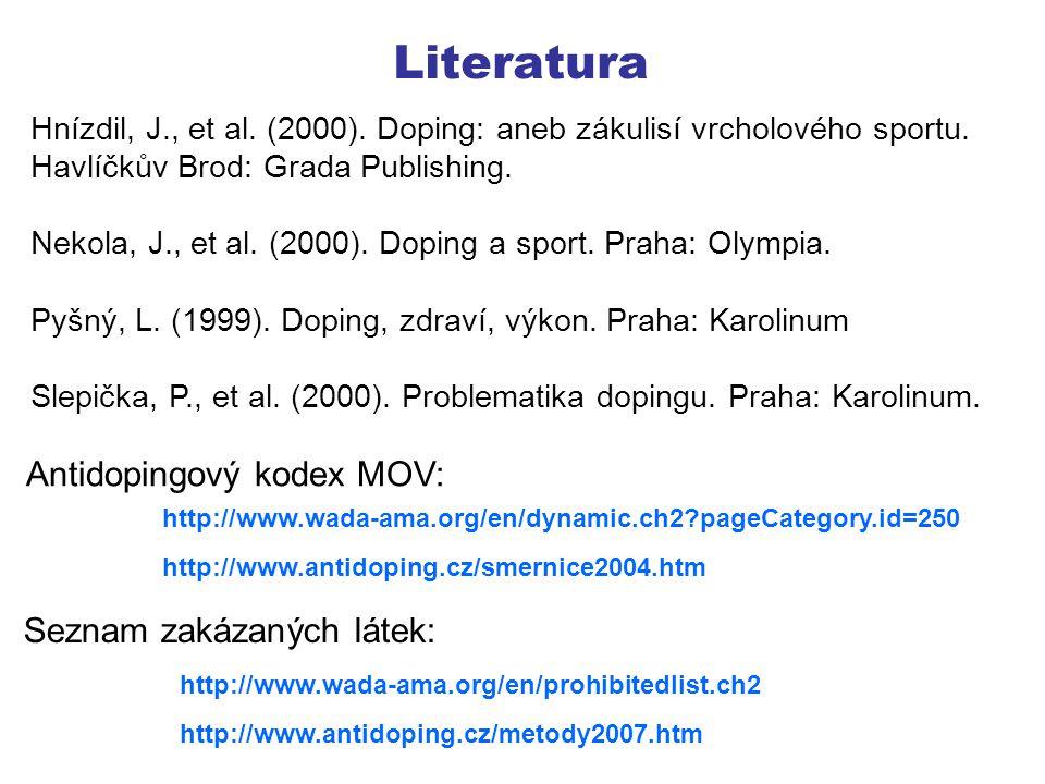 Literatura Antidopingový kodex MOV: Seznam zakázaných látek: