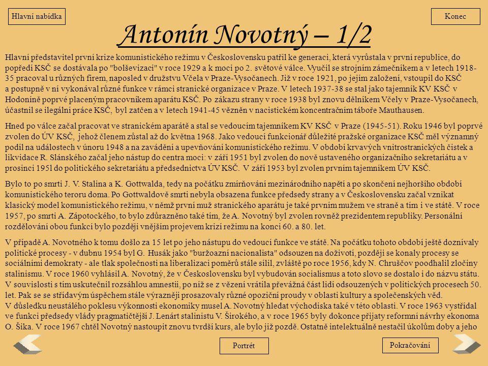Hlavní nabídka Konec. Antonín Novotný – 1/2.