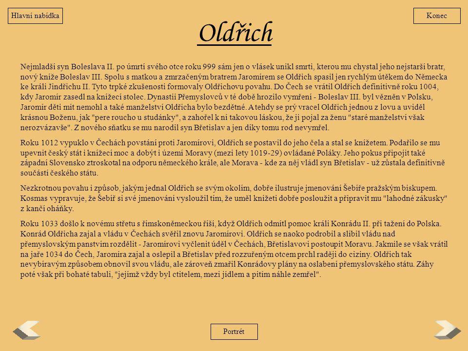 Hlavní nabídka Konec. Oldřich.