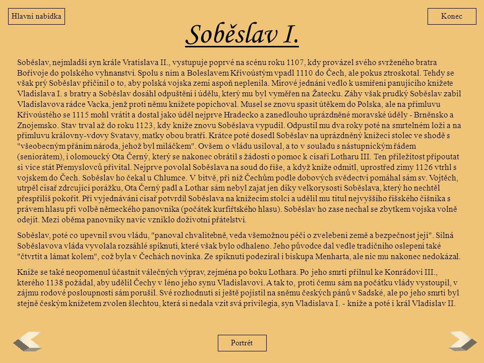 Hlavní nabídka Konec. Soběslav I.