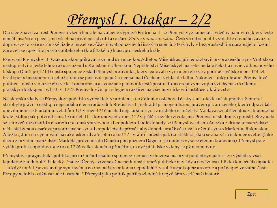 Přemysl I. Otakar – 2/2