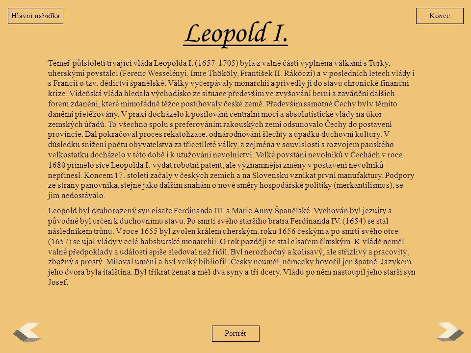 Hlavní nabídka Konec. Leopold I.