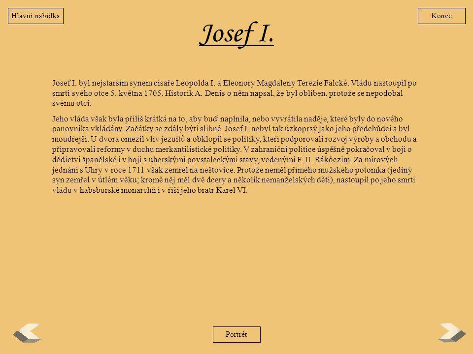 Hlavní nabídka Konec. Josef I.