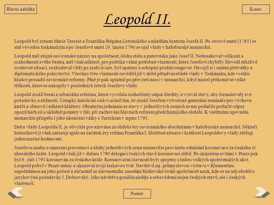 Hlavní nabídka Konec. Leopold II.
