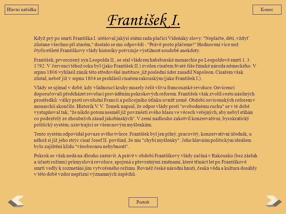 Hlavní nabídka Konec. František I.