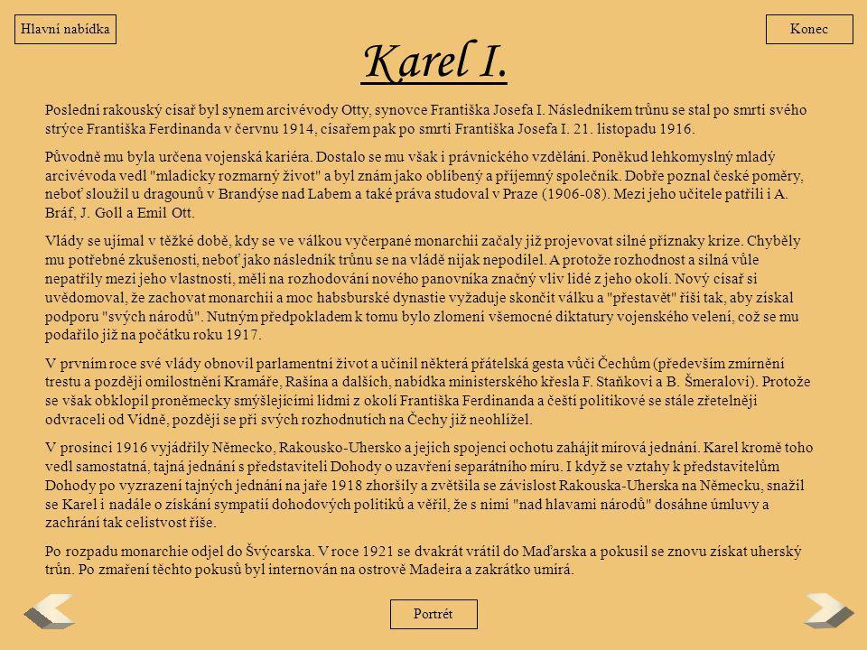 Hlavní nabídka Konec. Karel I.