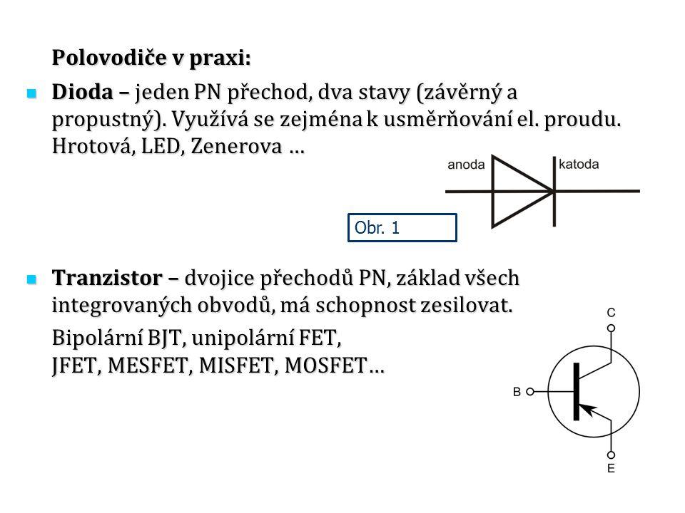 Polovodiče v praxi: Dioda – jeden PN přechod, dva stavy (závěrný a propustný). Využívá se zejména k usměrňování el. proudu. Hrotová, LED, Zenerova …