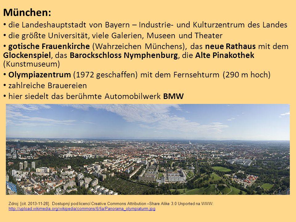 München: die Landeshauptstadt von Bayern – Industrie- und Kulturzentrum des Landes. die größte Universität, viele Galerien, Museen und Theater.