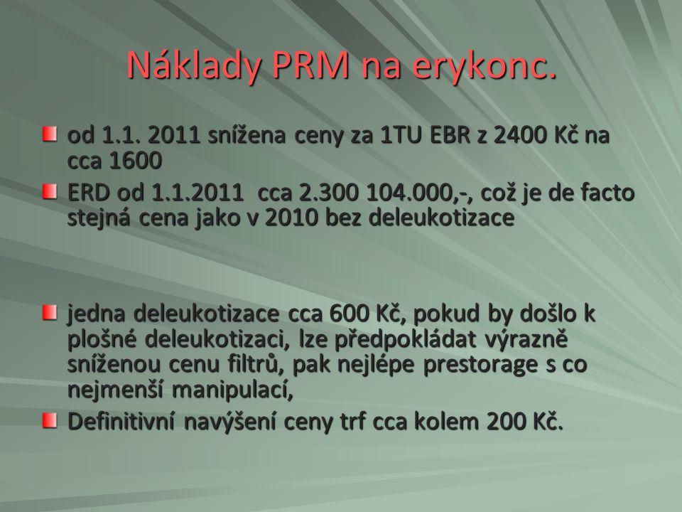 Náklady PRM na erykonc. od 1.1. 2011 snížena ceny za 1TU EBR z 2400 Kč na cca 1600.
