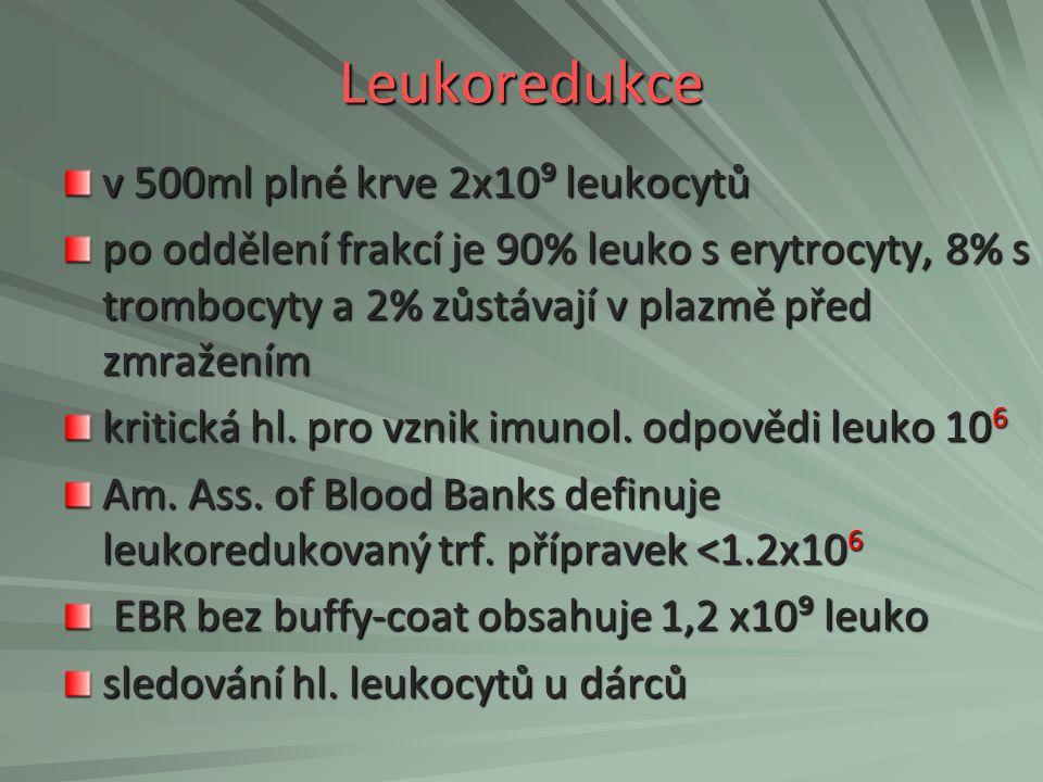 Leukoredukce v 500ml plné krve 2x10⁹ leukocytů
