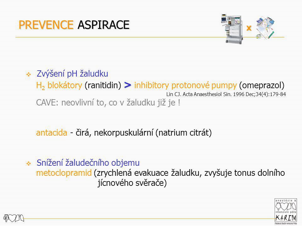 PREVENCE ASPIRACE x Zvýšení pH žaludku