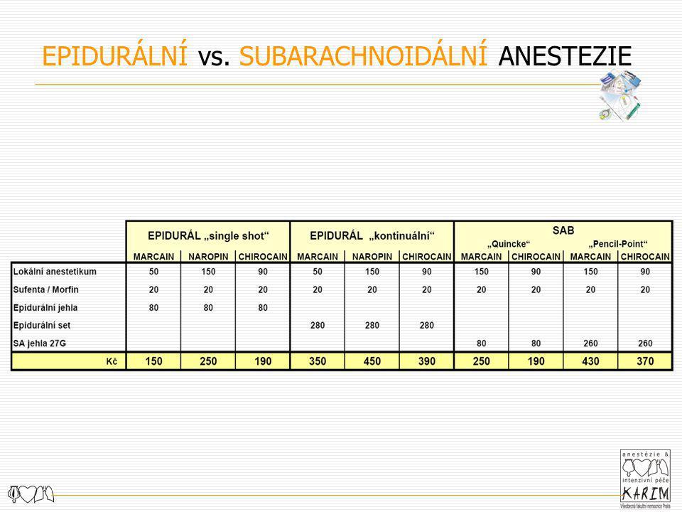 EPIDURÁLNÍ vs. SUBARACHNOIDÁLNÍ ANESTEZIE